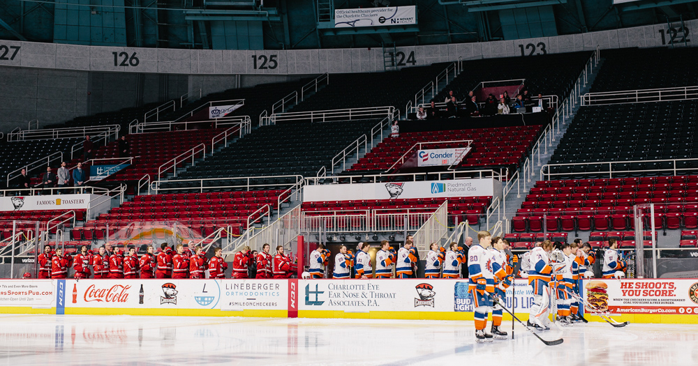 The Charlotte Checkers and Bridgeport Sound Tigers play in front of absolutely no one