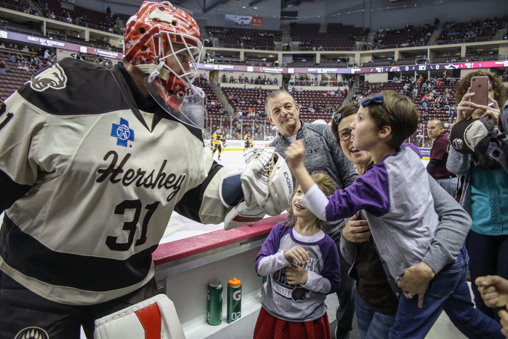 Goaltender Greets Kennedy With His Glove As Warm-ups Come To A Close.