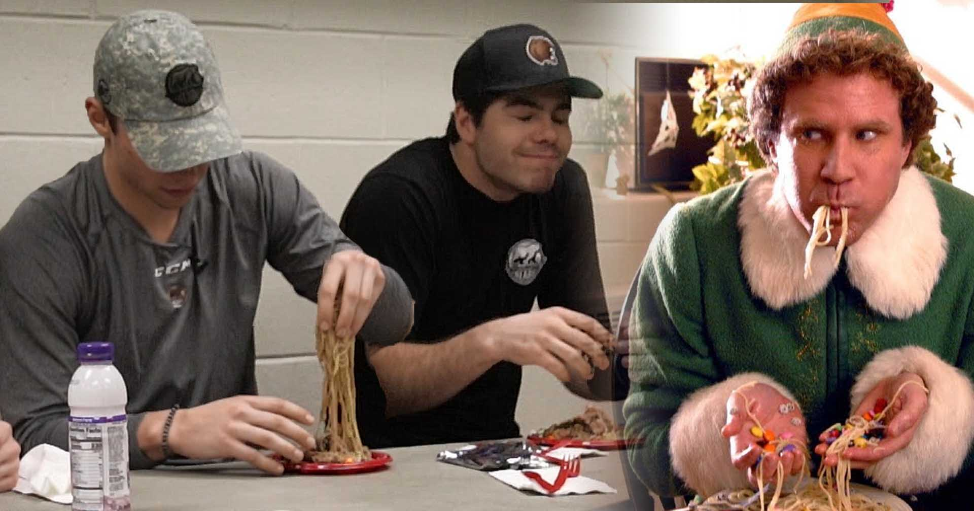 Hershey Bears players try 'Elf' Spaghetti