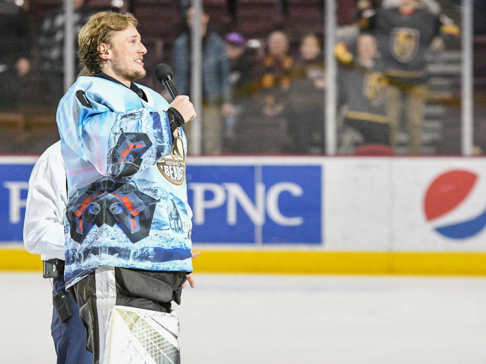 Vitek Vanecek Thanks The Crowd For Coming Out And Supporting The Team