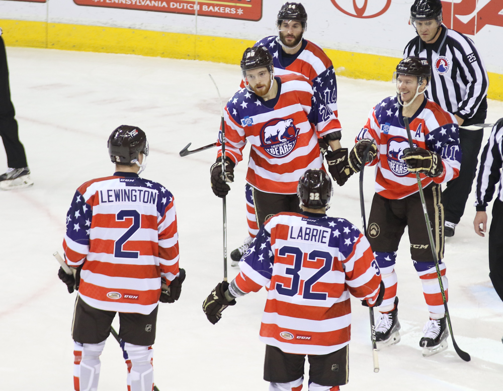 Five Canadians Celebrate In USA Jerseys