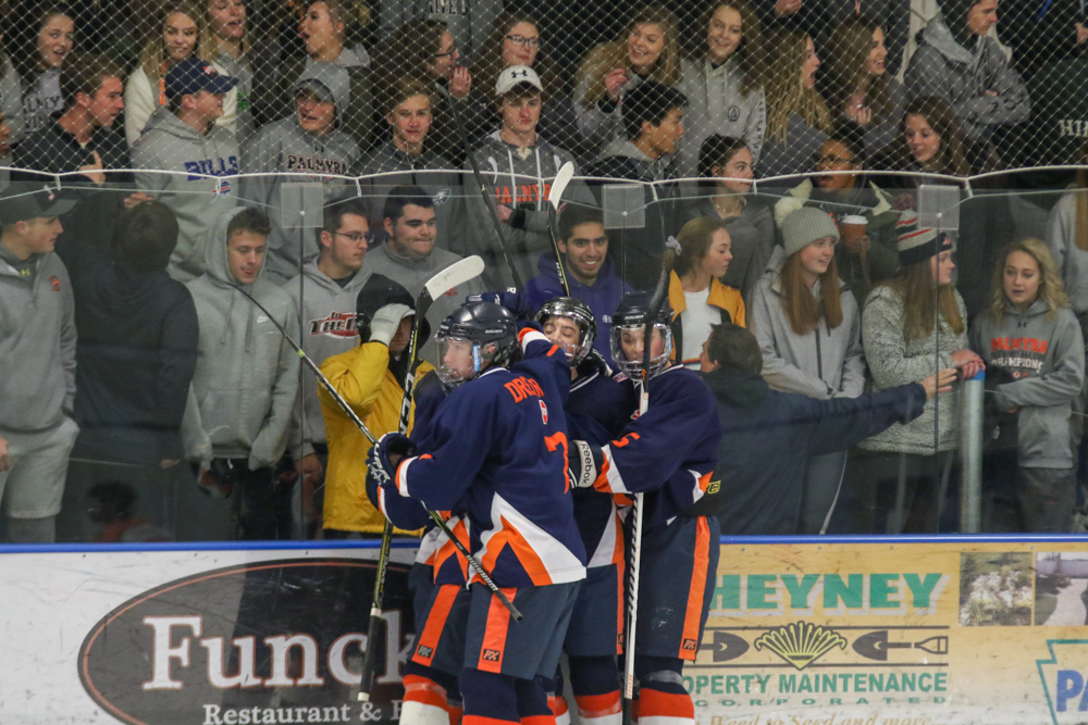 Hershey Players Celebrate In Front Of An Unamused Palmyra Student Seciond
