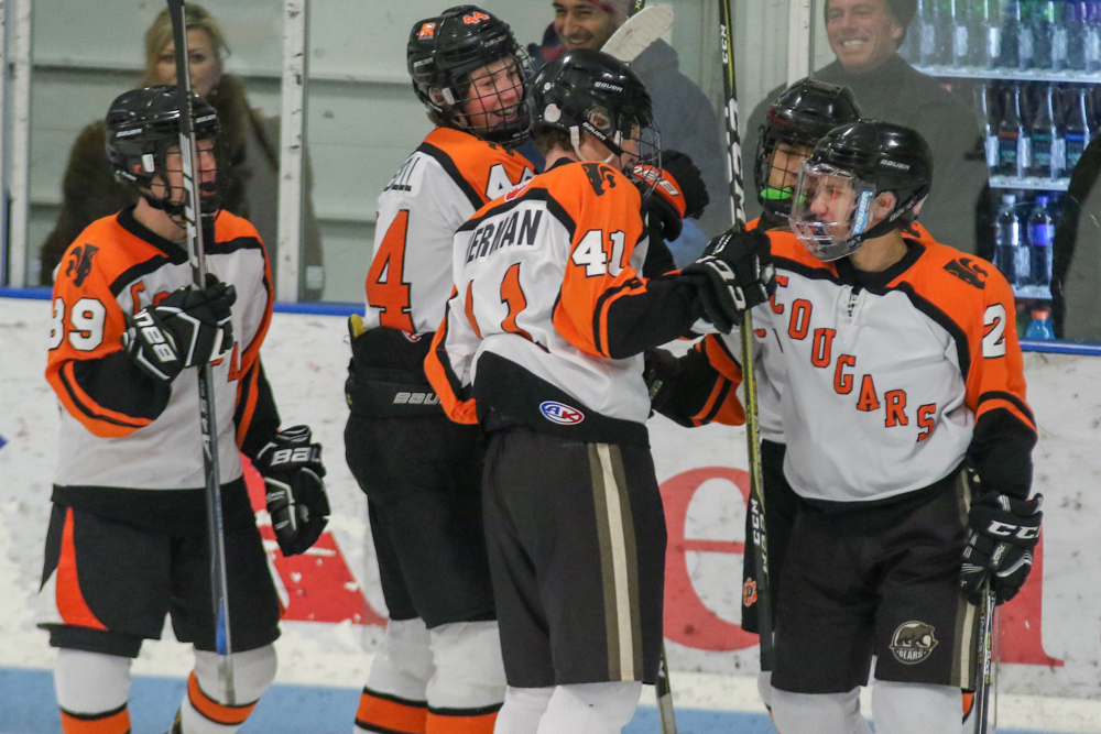 Jake Herman Is Joined By Teammates To Celebrate His Game-tying Goal In The Second Period