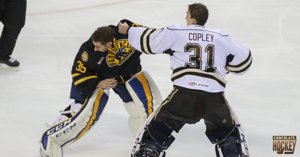 Friends Pheonix Copley and Jordan Binnington have goalie fight in Hershey (Video and Photos)