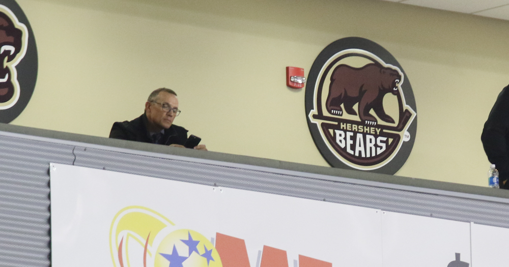 Tampa Bay GM and Hockey Hall of Famer Steve Yzerman attends Hershey Bears game